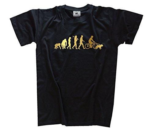 Shirtzshop–Maglietta Evoluzione, edizione oro bicicletta con cane dogsitter nero