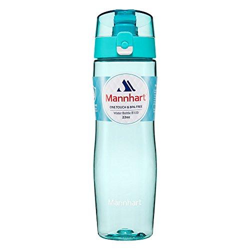 Trinkflasche [BPA-frei, Spülmaschinenfest, Sicher vor schädlichen Chemikalien, Auslaufsicher] Trinkflasche Sport, Trinkflasche Kinder, Sportflasche, Wasserflasche - Mannhart 650ml B100 Aqua Blue - Aqua-wasser-flasche