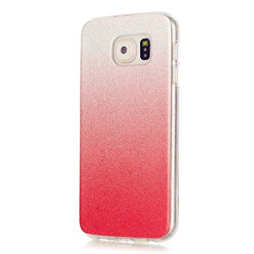 Preisvergleich Produktbild KSHOP TPU Case Cover Bling Strass Schutz Hülle Silikon Tasche Diamant Schutzhülle für Samsung Galaxy S6 Luxus Glitzer Matt Tasche Kristall Case Farbe nach und nach die Farbe ändern Glänzend Schale Ultra Dünn Etui - Weiß + Rot