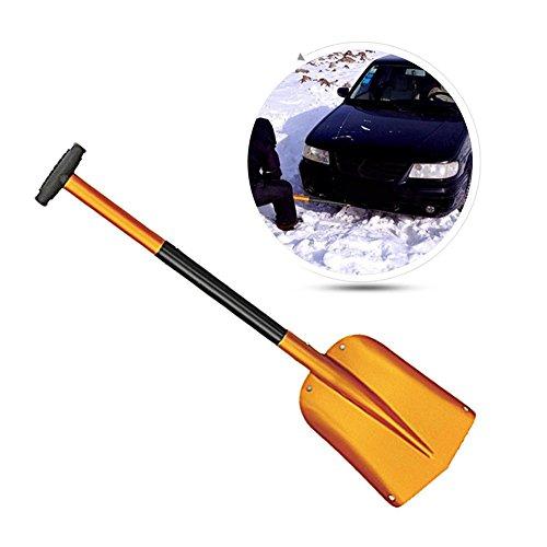 Hochwertige Schneeschaufel Aluminium Schneeschaufel teleskopierbar Alu Schneeschieber Schneeschippe Schnee Schaufel Schneeräumer Transportabel für Auto, Gold/Blau