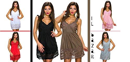 IL BAZAR Damen Empire Kleid One size Rosa