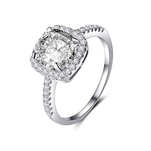 CanVivi Square Künstliche Diamanten Ring Zirkonia Versprechen Halo Verlobungsring für Frauen, 10 (Halo Diamant Versprechen Ringe)