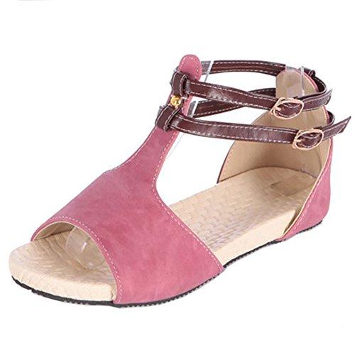 COOLCEPT Damen Mode-Event T-Spangen Sandalen Open Toe Flach Schuhe Rosa