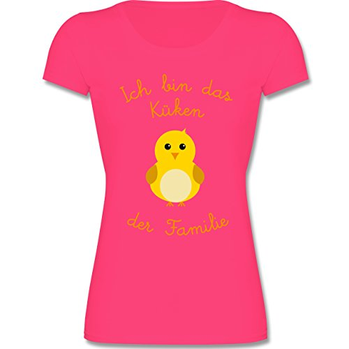 Küken Mädchen T-shirt (Sprüche Kind - Küken der Familie - 140 (9-11 Jahre) - Fuchsia - F288K - Mädchen T-Shirt)