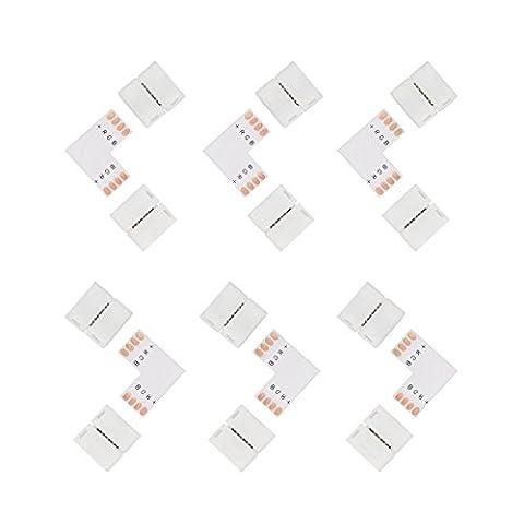 Salcar 6 x 4 connecteur & L- Form PCB pour SMD 5050 RGB LED strips, Ruban à LED, 10mm, solderless