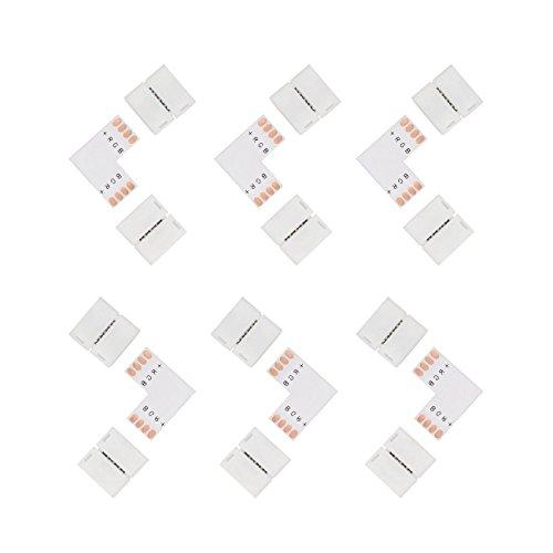 Salcar Lot de 6 connecteurs 4 broches et forme de L pour rubans LED SMD 5050 10 mm