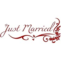 Autoaufkleber Hochzeit - Just Married Blumenranke