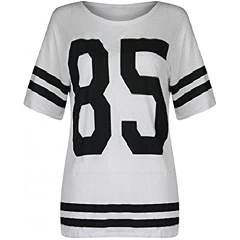The Home of Fashion Nuevo Mujer Blanco Oversized Varsity 85 Béisbol de fútbol americano camiseta Top (SM (8 – 10))
