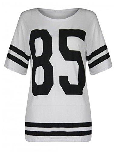 The Home of Fashion Damen Oversized weiß Varsity 85American Football Baseball T Shirt Top (SM (8–10))