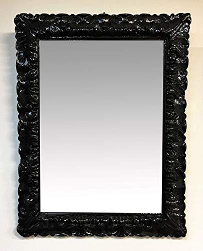 Specchio rettangolare con cornice lavorata piena,nero laccato,cm69x89