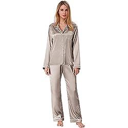 Zexxxy Ensemble de Pyjama en Satin pour Femmes Ensemble de vêtements de Nuit boutonnés à boutonnière avec Pantalon (Grand, Gris)