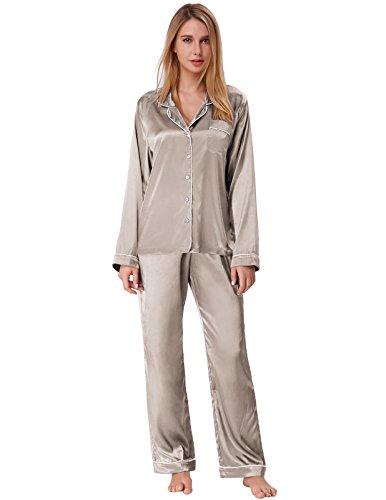 Zexxxy Schlafanzug Damen Pyjama Satin Lange Button-Down Nachtwäsche mit Hosen Hausanzug Sleepwear (Large, Grau)