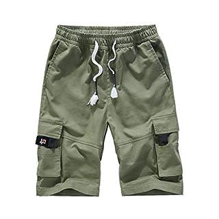 APTRO Herren Shorts Arbeitsshorts Baumwolle Cargo Shorts Outdoor Sommer Freizeit Kurze Hose Dunkelgrün M