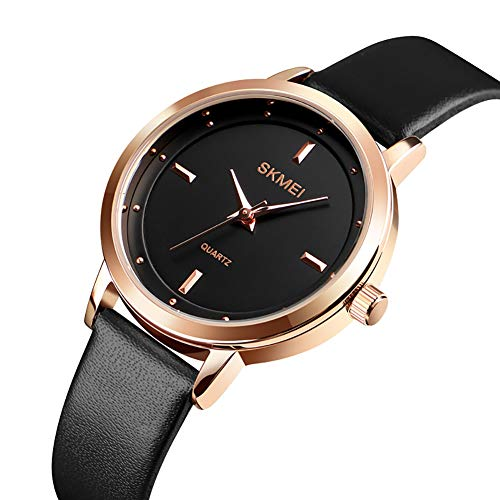 IKVRU Womens Watch-Womens Simple Casual Leather Waterproof Analog Analog Quarz Dress Wrist Watch,Black Scalloped Gold