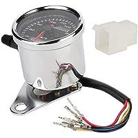 Duokon Odometer 12V Moto Instrumento Odómetro doble Medidor de millas con medidor de luz de fondo LED((Negro))