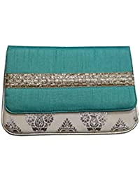 V Raj Bag Women's Synthetic Blue Clutch With Sling Bag ( 10 X 2 X 5 Inches ( L × W × H ))