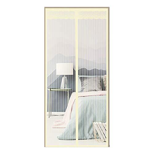 Fliegengitter BalkontüR TüR Insektenschutz Magnet Fliegenvorhang,Ohne Bohren,Magnetverschluss,TerrassentüR Magnetvorhang FranzöSisch TüRnetz,Beige,152x203cm(60x80inch) (60 X 80 Französisch Terrassentüren)