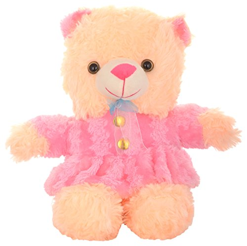 MEGADDICT Best & Cheap Big Cute & Cuddly Handmade Soft Plush Female Teddy Bear Toy wearing Pink Frock for Your Kids / Friends Birthday Gift or I Love You Valentine Gift / Anniversary Gift for Your Wife / Girlfriend - BEIGE / CREAM - 1.33 feet / 16 inches / 40 cms.  available at amazon for Rs.319