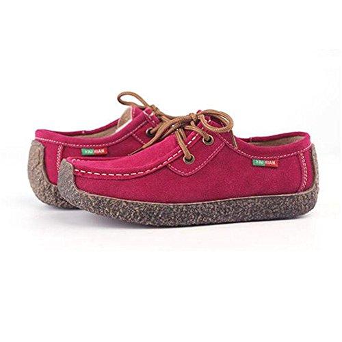 Wywq Zapatos De Mujer En Cuero Genuino Con Cabeza Cuadrada, Caracol, Zapatos Planos, Cinturones Cruzados, Zapatos De Gran Tamaño 35-42 2018 Primavera Pieza Roja