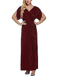 Mujer Vestidos De Fiesta Largos De Noche Verano Manga Corta V Cuello Talle Alto Tallas Grandes Vestido Fiesta…