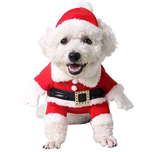 Hunde Große Extra Santa Kostüm - PET SPPTIES Christmas Gift Haustier Geschenk Hundekleidung Jumper Santa Kostüm Kostüm mit Hut Winter Bekleidung PS022 (M, Red)