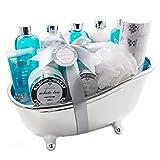 Accentra Badeset Geschenk in edlem Design & wohltuendem White Tea Duft, Deko-Badewanne gefüllt mit...