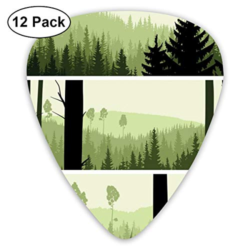 act Art Colorful Designs,Horizontal Banners With Abstract Wild Green Growth On The Hills,Unique Guitar Gift,For Bass Electric & Acoustic Guitars-12 Pack ()