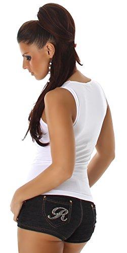 B&X Shirt Träger Top Elastisch mit Heißer Spitze Stretch Gogo Bodysuit Weiß