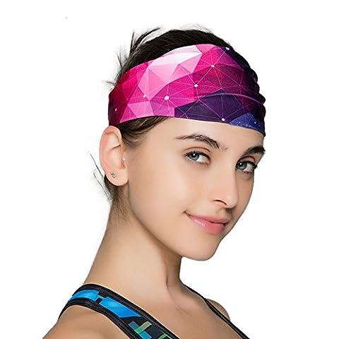 B & Y Multi Use breathstirnband portant pour les femmes Accessoires pour le sport–entraînement–Yoga ou de mode lila&schwarz