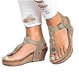 LILIHOT Damen Zehe Dicke Plattform Keil Sandalen Damenschuhe Hang Spitze Sandalen Damen Plattform Wasserdichte Tischdecke elastische Sandalen Outdoor perfekte Sandalen
