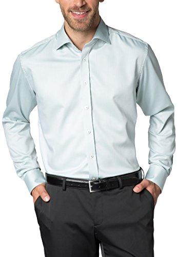 Eterna Long Sleeve Shirt Modern Fit Fancy Weave Structured verde giallo