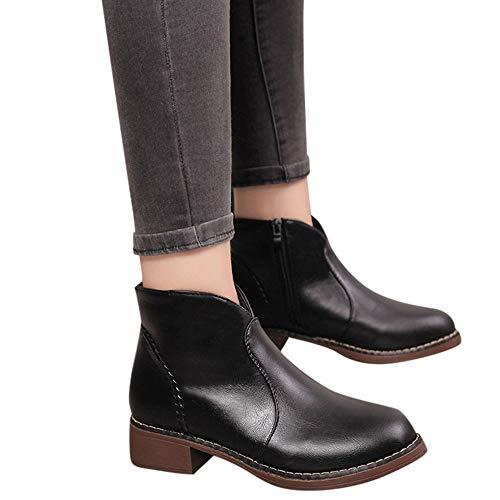 MYMYG Single Kurze Frauen British Stiefel Schuhe Klassische Freizeitschuhe Boots Wildlederstiefel Retro Gürtelschnalle Stiefel Mädchen...