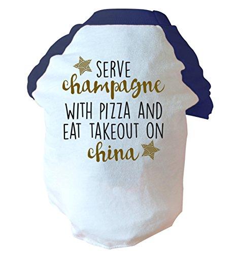 Servire champagne and eat takeout-Maglietta con rotella tagliapizza, in porcellana, motivo: cane in due tonalità, colore: rosa/blu blu Large