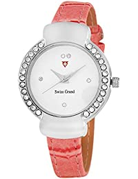 Swiss Grand SG_1205 Peach Coloured With Peach Leather Strap Quartz Watch For Women