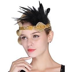 FAIRY COUPLE Ceñidor de Perlas de Plata con Plumas Blancas Vendimia 1920s Joven a la Moda Diadema Oro
