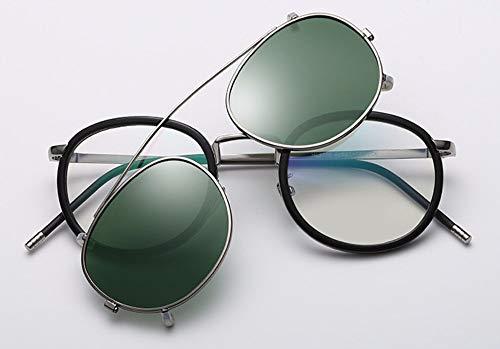 WSKPE Sonnenbrille Linse Abnehmbarer Polarisierte Sonnenbrillen Clip Auf Metall Brillen Sonnenbrillen Dunkle, Grüne Linse