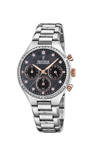 Festina Damen Chronograph Quarz Uhr mit Edelstahl Armband F20401/4