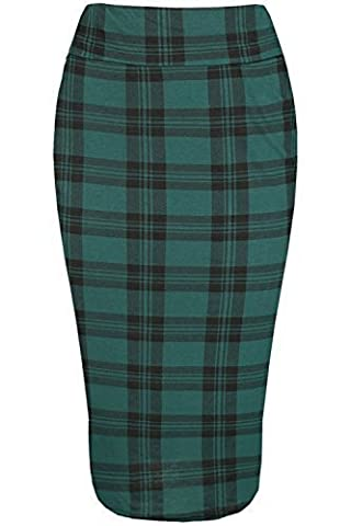 Ladies Womens Pencil Jersey Stripe Elastic Dogtooth Floral Tartan Printed Skirt