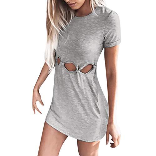 Hemdkleid Frauen Rundhals Mode Kleid Eng Minikleid A-Linie Skaterkleid  Solide Rock Mädchen Kleider Ärmellos 8b9a1b1afa