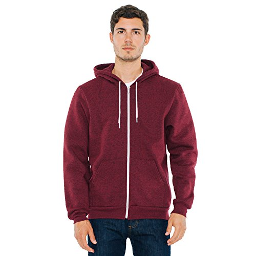 American Apparel Herren Kapuzenpullover Gr. Large, Brushed Peppered Cranberry (Pullover Brown Wool Crewneck)
