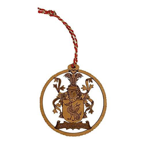 Imprints Plus Elder Holz Familienwappen Laser geschnitten, handbemalt und lackiert Family Crest Ornaments Mcgillcuddy -