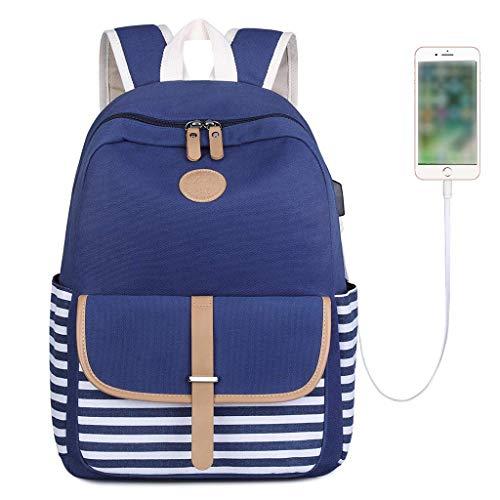 mit 1/2/3-teiligem nautischem Streifenmuster, Marineblau, aus Baumwollleinen mit USB-Schnittstelle für Teenager Mädchen Jungen und Jungen (Blau, Rucksack + USB) ()