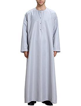 Bmeigo Hombre Thawb Musulmán Dubai Saudi Arabia Cotton Thobe Abaya manga larga Robe