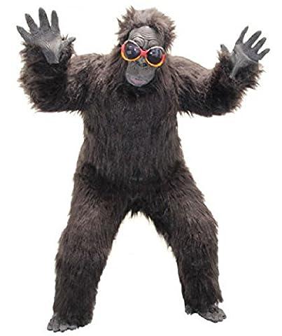 Foxxeo 40001   Deluxe Gorilla Kostüm schwarz Affenkostüm, Größe:XL (Deluxe Gorilla-kostüm)