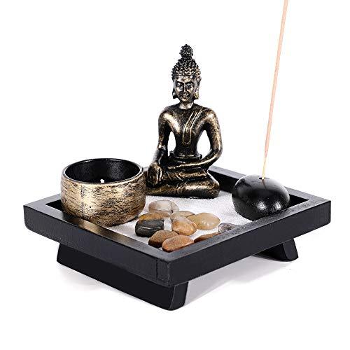 GoMaihe Buddha Figur Statue Kerzenständer, 12.5 x 12.5cm Teelichthalter Set Räucherstäbchenhalter Naturstein, Weihrauchbrenner Kerzenleuchter für Zen Garten Meditation Entspannen Innere Deko, MEHRWEG