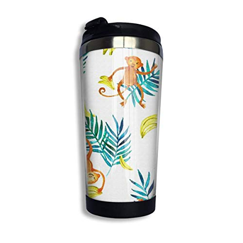 Stainless Steel Travel Mugs Monkey and Leaves Insulated Thermos Coffee Mug Tumbler (13 Oz/400 Ml) -
