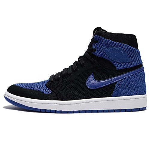 Nike Air Jordan 1 Retro Hi Flyknit, Chaussures de Basketball Homme black, game royal-white