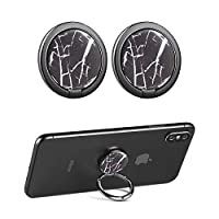 """CHOELF Phone Ring Holder, 2 Pack Phone Finger Grip 360° Rotation Handy Finger Ring Stand Universal Metal Kickstand for iPhone Samsung Galaxy HUAWE Tablets and more 4-7"""" Smartphones- Marble"""