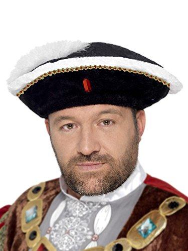 KÖNIG HENRY VIII 8TH HUT = SCHWARZER TEDDYFELL HUT MIT VIELEN KLEINEN DETAILS WIE IHN HENRY DER 8TE GETRAGEN HAT= VON (Viii Henry König Kostüme)