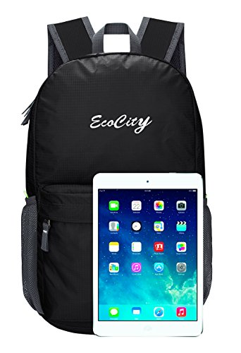 EcoCity Ultra Lightweight Packable Backpack Hiking Daypack + Most Durable Light Backpacks for Men and Women / the Best Foldable Camping Outdoor Travel Biking School Air Travelling Carry on Backpacking Nero-1